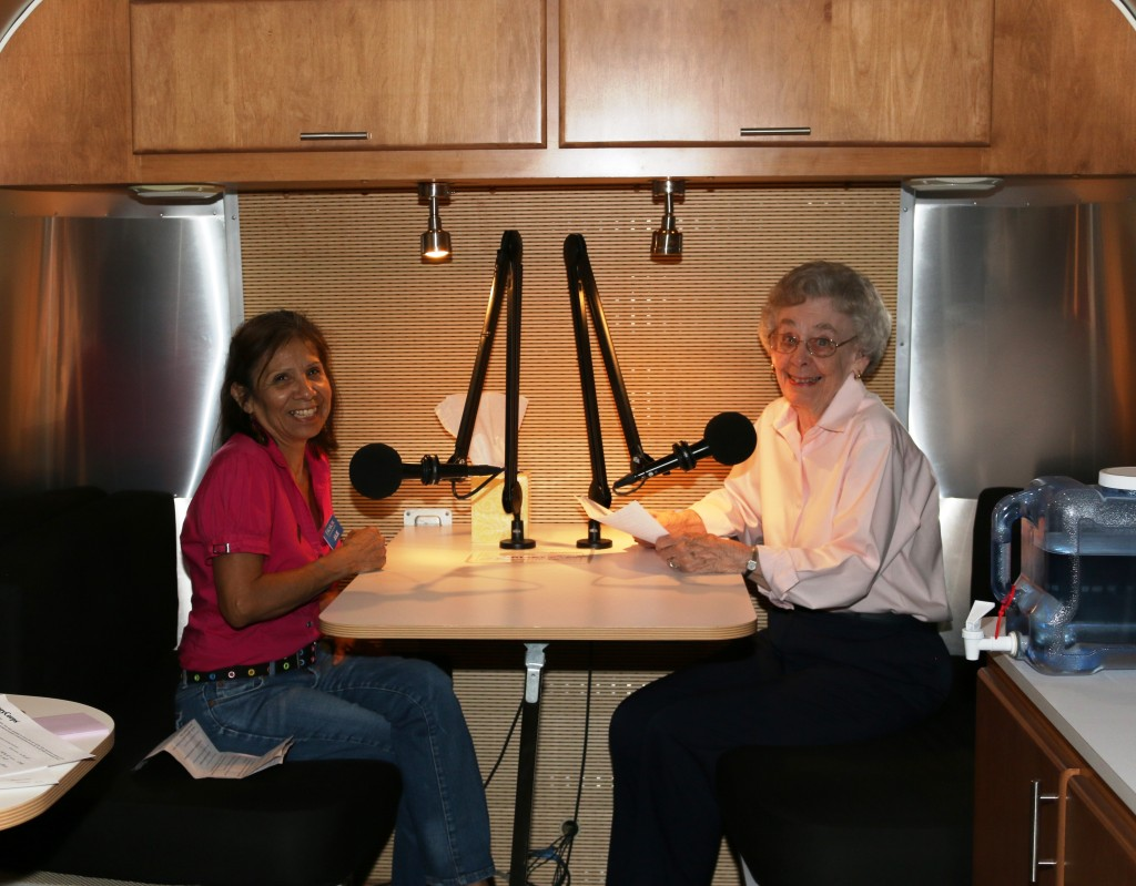 Julie and Connie in StoryCorps Airstream